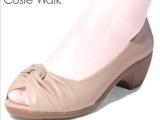 中跟粗跟鱼嘴鞋女鞋广州新款春秋舒适软鞋子