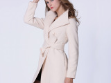 2014冬季新款欧美修身女装大领毛呢大衣纯色冬季外套女 一件代发