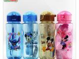 正品迪士尼 儿童卡通学生吸管水壶密封防漏杯米奇蓝色米妮塑料杯