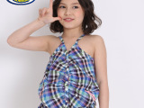 巴布豆童装 女童格纹吊带衫 时尚纯棉格纹吊带背心