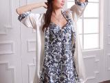 耀婷品牌夏季空调房家居服 青花瓷丝绸贵妇气质 仿真丝睡袍两件套