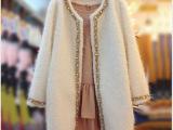 韩国东大门代购2014秋冬新款女装中长款显瘦毛呢外套呢子大衣风衣