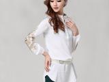 2014新款欧美大码女装 高端刺绣长款女衬衫套头衬衣 一件起批