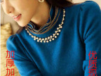 秋冬装新款韩版修身显瘦大码长袖t恤加绒加厚高领保暖打底衫