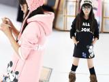 一件代发女童2014冬款卡通内羊羔绒中大童连帽卫衣保暖套头衫裙装