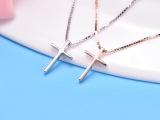 925纯银项链 十字架镀白金玫瑰金锁骨链