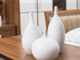 批发陶艺三件套 陶瓷工艺品花瓶花插花器 家居装饰摆设摆件螺纹