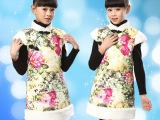 2014夏季儿童旗袍 无袖女童唐装公主裙民族风小女孩演出服