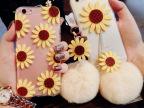太阳花苹果76splus手机壳女獭兔毛球