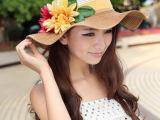 帽子女夏天韩版大檐草帽女花朵波浪边遮阳帽防晒紫外线沙滩太阳帽