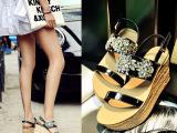 2015夏季新款女士松糕底女凉鞋坡跟真皮厚底水钻露趾一字带扣女鞋