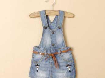 外贸童装 品牌女童水洗牛仔背带裙 Q1106