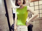 2015夏装新款 韩版圆领无袖修身显瘦百搭针织背心打底衫阿里批发