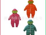 供应三个拉头可开档婴幼儿连体衣 新生儿宝宝纯棉保暖连帽爬服