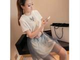 2014夏季新款女韩版两穿套装纯色长款T恤+网纱短裙两件套