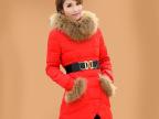 反季正品冬装韩版中长款超大毛领羽绒衣服女 修身显瘦外套清仓