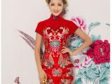 DK171-1 2015中国风红色修身礼服 修身锦缎旗袍 婚宴新