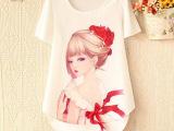 2014春新款女装韩版百搭美女图案印花圆领短袖衬衫T恤 批发