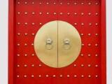 定做实木家装大门 松木包铜双开门榆木古四合院大门