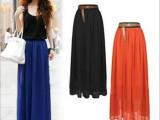 2014夏季新款女装外贸半身裙 欧美雪纺长裙及踝半身长裙子批发