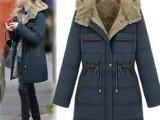 批发欧美冬装新款 女 欧美连帽女式羽绒服中长款大码外套棉袄大衣