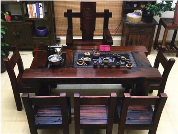 老船木家具茶几红坤独板茶台茶桌博古架现货厂家直销