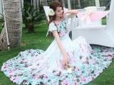 新款波西米亚印花大裙摆连衣裙 气质雪纺连衣裙长裙厂家现货直销