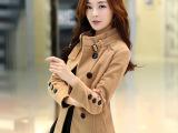 2014秋冬韩版双排扣外套毛呢外套呢大衣短款呢子大衣批发代发