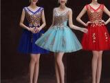 2015新款 酒红色时尚短裙新娘结婚敬酒小礼服年会宴会高档演出服
