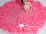 公主新娘韩版抹胸奢华拖尾西瓜红蓬蓬婚纱礼服新款2015热销婚纱