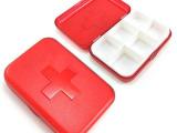 厂家直销 6格十字小药盒  加印LOGO宣传广告 塑料药盒礼品