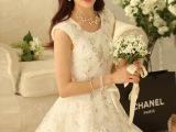 2014春夏新款韩版修身无袖背心淑女百搭白色蕾丝连衣裙 一件代发