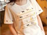 日系文艺 复古手工串珠小狗印花宽松圆领女式短袖t恤