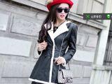 秋冬新款羊羔毛加绒翻领皮衣女韩版收腰显瘦加厚大码机车皮衣外套