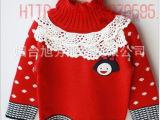 韩版童装aitch pall女宝针织高领女童毛衣免费代理女童毛衫