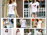 2015春夏新款 外贸女式韩版白色t恤 短袖T恤批发 女装地摊货