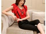 2014韩版时尚休闲显瘦两件套装短袖雪纺衫上衣+背带七分裤女