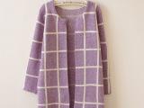 2014新款春装 韩版开衫 针织衫 女格子中长款毛衣开衫外套88