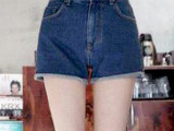 2014夏季新款韩国东大门基本款显瘦卷边热裤高腰牛仔短裤3码