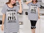 新款2014韩版女款短袖条纹贴布宽松大码女装短袖t恤女夏款1975