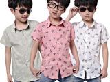 童装 2014新款韩版短袖童衬衫夏天男童衬衣宝宝衣服全网最低价格