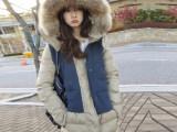 韩国东大门代购冬装貉子大毛领鹅羽绒服女中长款拼接加厚修身