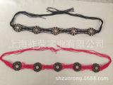 [厂家直销手工编织贝壳腰链 蜡绳编织腰带 串珠腰带 麻线贝壳腰链
