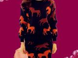欧洲站秋季最新款针织套装批发 优质印花包臀半身裙子两件套