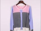 最新发布2014初秋新款韩国清新拼色针织衫撞色开衫薄款圆领空调衫