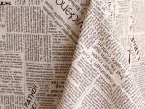 英文字母棉亚麻布料 英文报纸棉麻布料 棉麻桌布台布沙发抱枕布料
