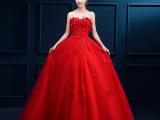 2015秋新款抹胸蓬蓬裙婚纱长款新娘结婚敬酒服红色婚纱韩版晚礼服