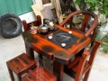 阳台老船木茶桌椅组合方形小茶艺桌喝茶几桌实木仿古老