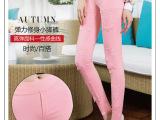 夏装彩色糖果色外穿蕾丝打底裤修身大码弹力铅笔裤小脚裤女裤薄款