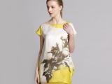 2014夏季品牌女装印花桑蚕丝高档气质连衣裙欧美风短袖拼灯笼裙子